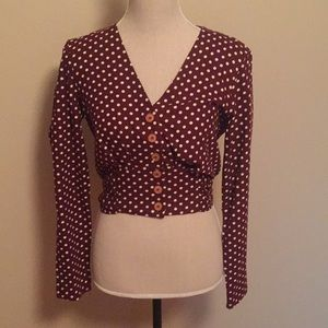 Miss Selfridge red and white polka dot top